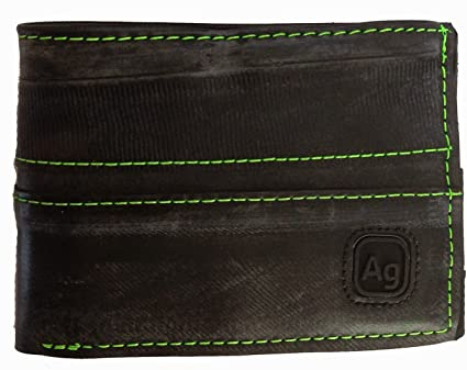alchemy goods neon green stitch franklin wallet is made from recycled inner tubes. made in the USA