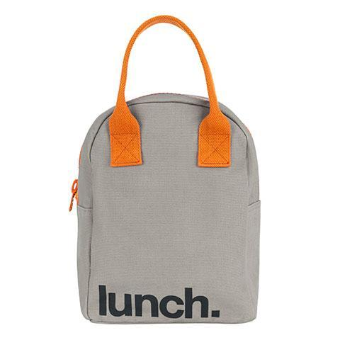 fluf lunch' grey/pumpkin zipper lunch bag