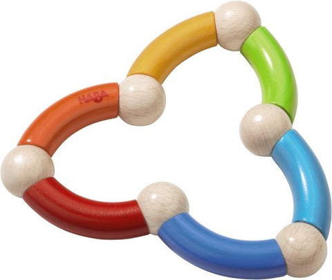 haba snake sustainably grown beechwood wood teething toy or clutching toy with non-toxic water-based stain. made in germany