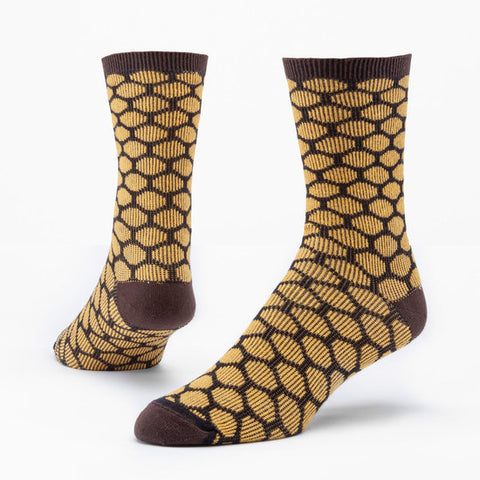 maggie's organics cotton trouser socks - bee keeper  honey/black - size medium, large