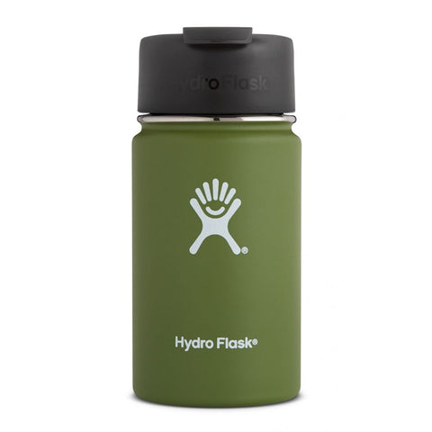 olive 12 oz wide mouth hydro flask bottle keeps liquids cold for up to 24 hours and hot up to 6. bpa-free
