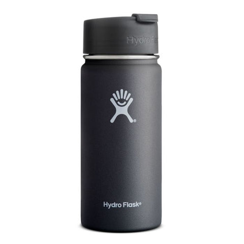 black 16 oz wide mouth hydro flask bottle keeps liquids cold for up to 24 hours and hot up to 6. bpa-free
