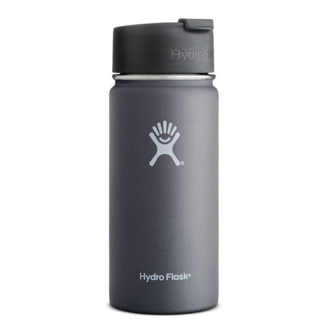 graphite 16 oz wide mouth hydro flask bottle keeps liquids cold for up to 24 hours and hot up to 6. bpa-free