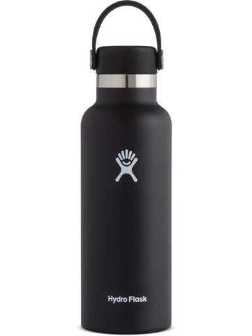 black 18 oz standard mouth hydro flask bottle keeps liquids cold for up to 24 hours and hot up to 6. bpa-free