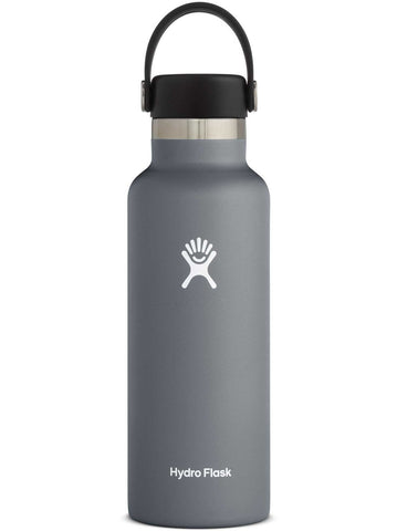 graphite 18 oz standard mouth hydro flask bottle keeps liquids cold for up to 24 hours and hot up to 6. bpa-free