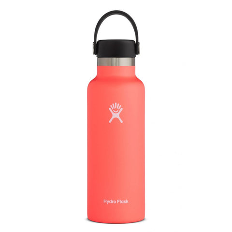 hydro flask hibscus 18 oz standard mouth bottle keeps liquids cold for up to 24 hours and hot up to 12. bpa-free