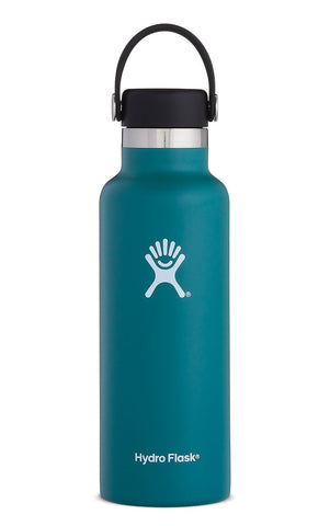 jade 18 oz standard mouth hydro flask bottle keeps liquids cold for up to 24 hours and hot up to 6. bpa-free