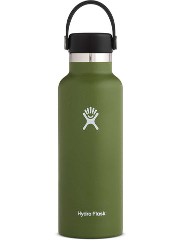 olive 18 oz standard mouth hydro flask bottle keeps liquids cold for up to 24 hours and hot up to 6. bpa-free