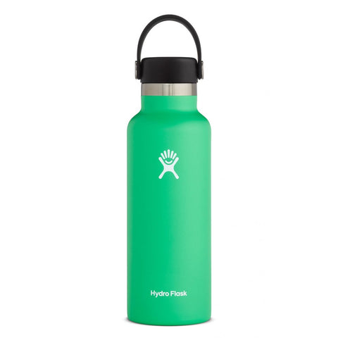 hydro flask spearmint 18 oz standard mouth bottle keeps liquids cold for up to 24 hours and hot up to 12. bpa-free