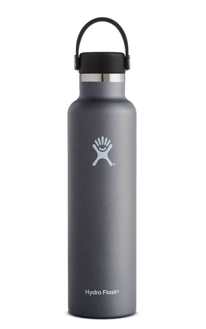 graphite 24 oz standard mouth hydro flask bottle keeps liquids cold for up to 24 hours and hot up to 6. bpa-free