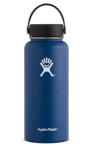 cobalt 32 oz wide mouth hydro flask bottle keeps liquids cold for up to 24 hours and hot up to 6. bpa-free