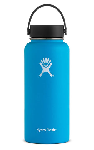 pacific 32 oz wide mouth hydro flask bottle keeps liquids cold for up to 24 hours and hot up to 6. bpa-free