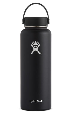 black 40 oz wide mouth hydro flask bottle keeps liquids cold for up to 24 hours and hot up to 6. bpa-free