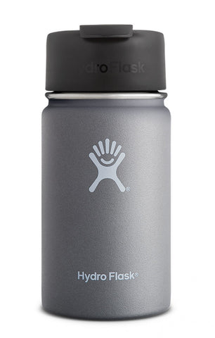 graphite 12 oz wide mouth hydro flask bottle keeps liquids cold for up to 24 hours and hot up to 6. bpa-free