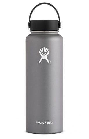 graphite 40 oz wide mouth hydro flask bottle keeps liquids cold for up to 24 hours and hot up to 6. bpa-free