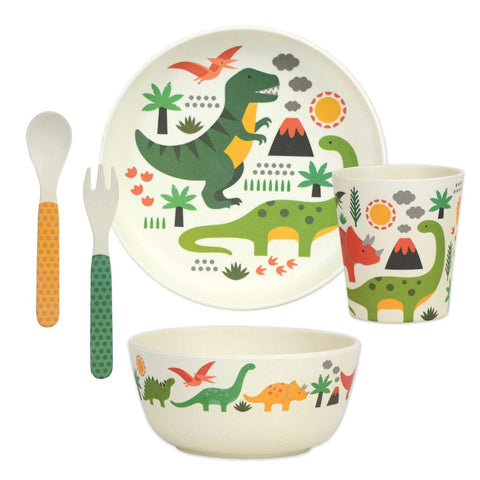 petit collage dinosaur 5-piece bamboo dinnerware set (plate, bowl, cup, spoon, fork). BPA-free, PVC-free, and phthalate-free