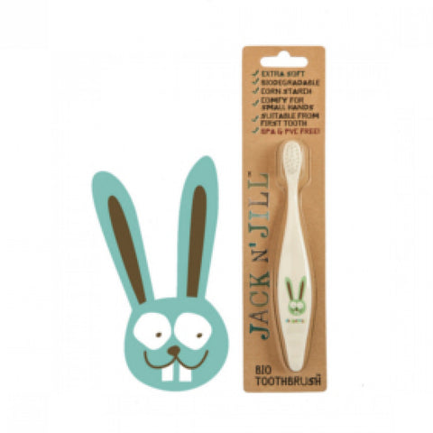 jack n' jill bio toothbrush bunny compostable & biodegradable handle extra soft