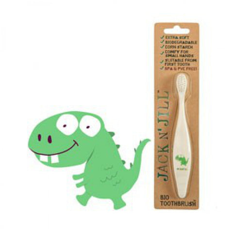 jack n' jill bio toothbrush dino compostable & biodegradable handle extra soft