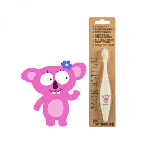 jack n' jill bio toothbrush kola compostable & biodegradable handle extra soft