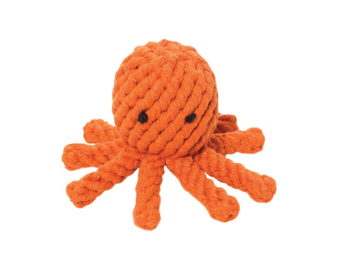 "jax & bones elton the octopus large 5"" rope toy is hand tied and dyed using non-toxic vegetable dyes. machine washable"