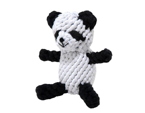 "jax & bones petey the panda large 7"" rope toy is hand tied and dyed using non-toxic vegetable dyes. machine washable"