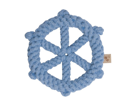 "jax & bones wheel 7"" rope toy is hand tied and dyed using non-toxic vegetable dyes. machine washable"