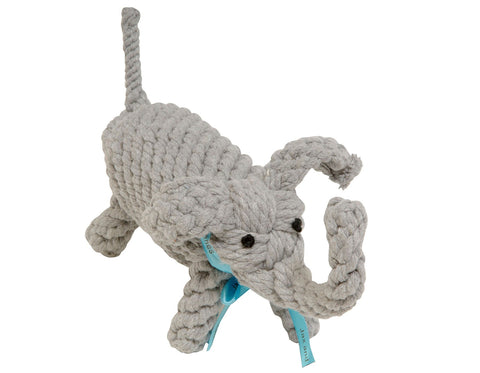 "jax & bones coco the elephant large 10"" rope toy is hand tied and dyed using non-toxic vegetable dyes. machine washable"