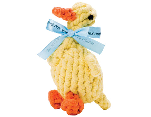 "jax & bones daisy the duck large 7"" rope toy is hand tied and dyed using non-toxic vegetable dyes. machine washable"