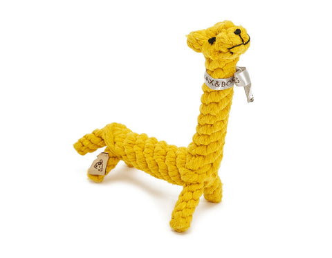 "jax & bones jerry the giraffe large 11"" rope toy is hand tied and dyed using non-toxic vegetable dyes. machine washable"