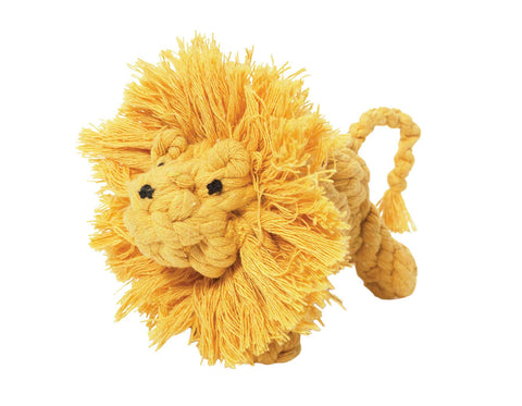 "jax & bones larry the lion large 6"" rope toy is hand tied and dyed using non-toxic vegetable dyes. machine washable"