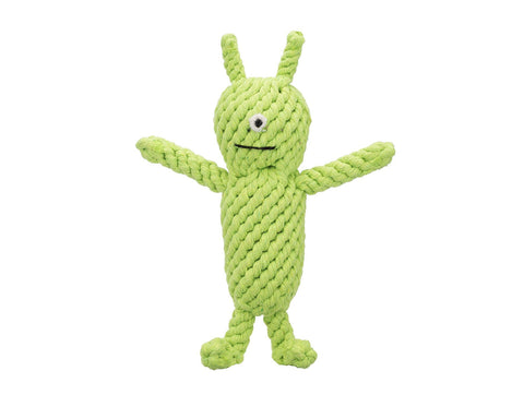"jax & bones norman the alien 10"" rope toy is hand tied and dyed using non-toxic vegetable dyes. machine washable"