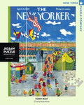 New York Puzzle Company's 1,000 piece jigsaw puzzle of the New Yorker cover Ferry Boat. Made in the USA