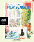New York Puzzle Companys 1000 piece jigsaw puzzle of the New Yorker cover cat's eye view. Made in the USA