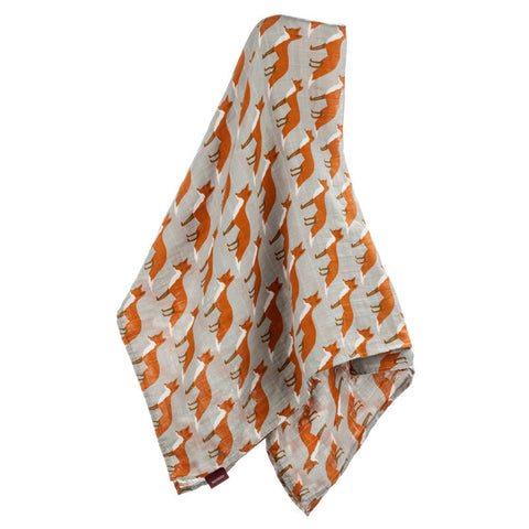 milkbarn orange fox 100% GOTS certified organic cotton swaddle or baby blanket