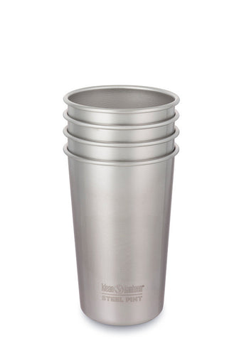 klean kanteen 16 oz brushed stainless pint cup, set of 4. bpa & bps free.
