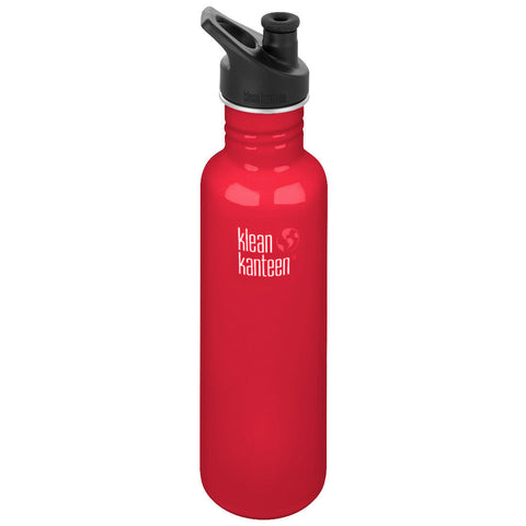 klean kanteen 27 oz mineral red standard mouth water bottle. bpa & bps free.