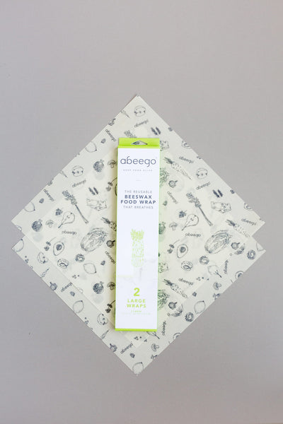 abeego beeswax food wrap, variety set, small medium large