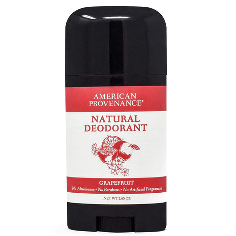 american provenance grapefruit all natural deodorant has no aluminum, no harsh chemicals, no preservatives and no artificial fragrances