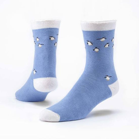 maggie's organics organic  wool snuggle socks penguin blue medium