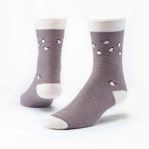 maggie's organic wool snuggle socks penguin griege medium (sock size 9-11)