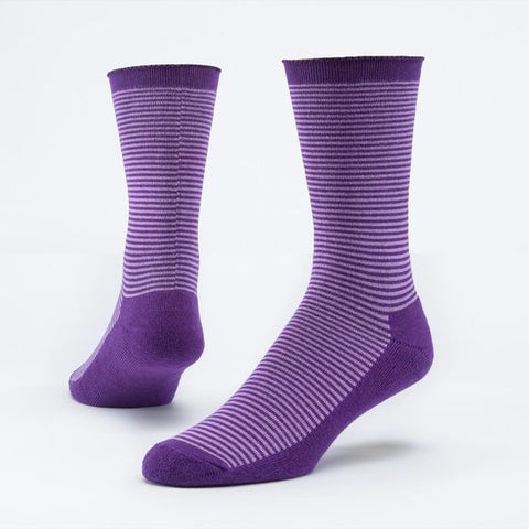 maggies organic purple medium mid-calf cushion crew organic fair trade cotton crew socks for women or men. made in USA