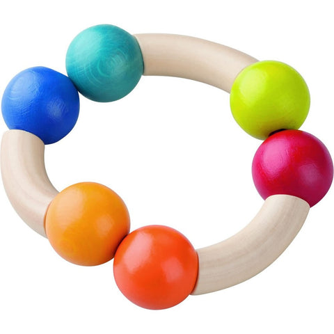 haba magic arch sustainably grown beechwood wood teething toy or clutching toy with non-toxic water-based stain. made in germany