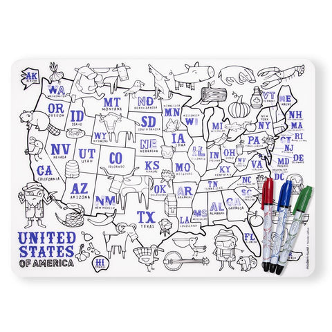 modern twist us map mark-mat set is a plastic-free non toxic silicone place washable mat and markers