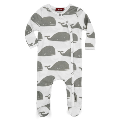 milkbarn grey whale 100% GOTS certified organic cotton footed romper
