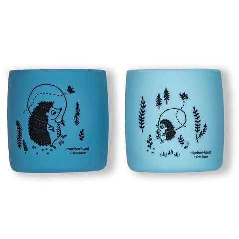 modern-twist hedgehog family - cornflower sip set comes with two cups. 100% pure food-grade silicone