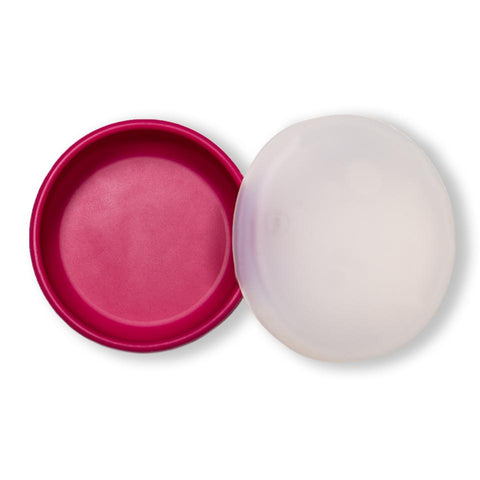 modern-twist berry pink snack set is a replacement for plastic containers. 100% pure food-grade silicone