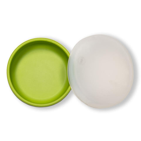 modern-twist lime green snack set is a replacement for plastic containers. 100% pure food-grade silicone