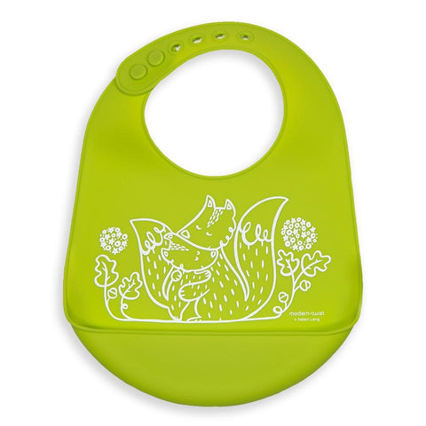 modern-twist bucket bib lime green foxes is a plastic-free baby bib made of 100% pure food-grade silicone