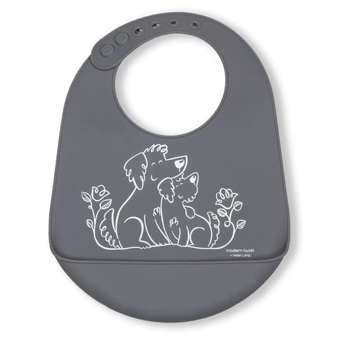 modern-twist bucket bib fuzzy gray puppy lover is a plastic-free baby bib made of 100% pure food-grade silicone