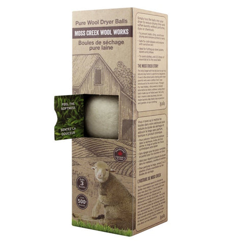 moss creek wool works, 1 barn box of 3 white wool dryer balls